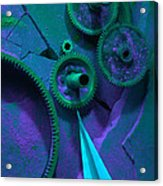 Green Gears Acrylic Print by Ron Schwager
