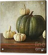 Green Pumpkin And Gourds On Table  Acrylic Print by Sandra Cunningham