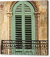 Green Shutters And Balcony In Verona Acrylic Print