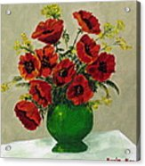 Green Vase Red Poppies Acrylic Print