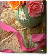 Green Vase With Roses Acrylic Print