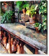 Greenhouse With Flowerpots Acrylic Print