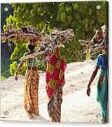 Group Of Women Carrying Firewood Near Acrylic Print