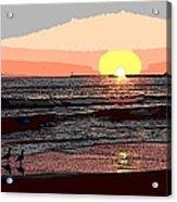 Gulls Enjoying Beach At Sunset Acrylic Print