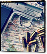 Gun And Bullets On Map Acrylic Print