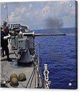 Gunner Fires A Mark 38 Machine Gun Acrylic Print