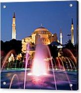Hagia Sophia At Night Acrylic Print by Artur Bogacki