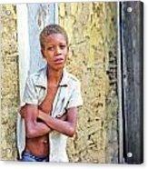 Haitien Boy Leaning On Wall Acrylic Print