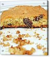Half Cookie And Crumbs In Plate Acrylic Print