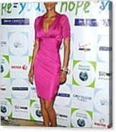 Halle Berry Wearing A Dress By Roberto Acrylic Print
