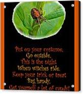 Halloween Card - Spider And Poem Acrylic Print
