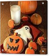Halloween Cookies With A Glass Of Milk Acrylic Print