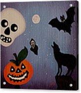 Halloween Night Original Acrylic Painting Placemat Acrylic Print