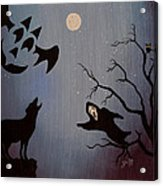 Halloween Night Party Original Painting Placemat Doormat Acrylic Print