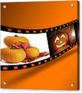 Halloween Pumpkin Film Strip Acrylic Print by Amanda Elwell