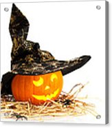 Halloween Pumpkin With Witches Hat Acrylic Print