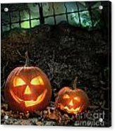 Halloween Pumpkins On Rocks  At Night Acrylic Print by Sandra Cunningham
