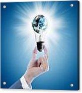 Hand Holding Light Bulb With Globe  Acrylic Print