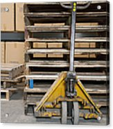 Hand Truck And Wooden Pallets Acrylic Print by Shannon Fagan