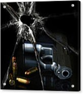 Handgun Bullets And Bullet Hole Acrylic Print