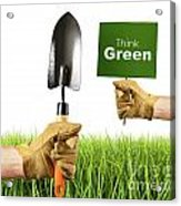 Hands Holding Garden Trowel And Sign Acrylic Print