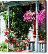 Hanging Baskets And Climbing Roses Acrylic Print