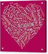 Hannah Heart Fuschia Acrylic Print