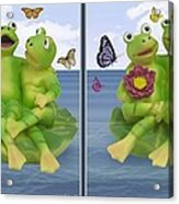Happy Frogs - Gently Cross Your Eyes And Focus On The Middle Image Acrylic Print