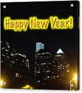 Happy New Year Greeting Card - Philadelphia At Night Acrylic Print