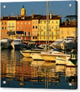 Harbour Boats And Waterfront Houses, St Tropez, Provence-alpes-cote D'azur, France, Europe Acrylic Print by David Tomlinson