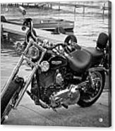 Harley Black And White Acrylic Print by Dean Bennett