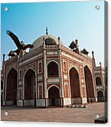 Hawk Flying Next To Humayun Tomb Delhi Acrylic Print