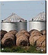 Hay And Grain Bins Acrylic Print