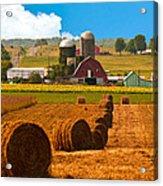 Hay Bales Leading To Barn Acrylic Print