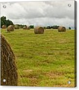 Haybales In Field On Stormy Day Acrylic Print by Douglas Barnett