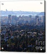 Hazy San Francisco Skyline Viewed Through The Oakland Skyline . 7d11341 Acrylic Print
