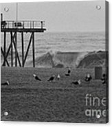 Hdr Black White Beach Beaches Ocean Sea Seaview Waves Pier Photos Pictures Photographs Photo Picture Acrylic Print