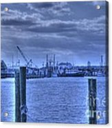 Hdr Fishing Boat Across The Jetty Acrylic Print by Pictures HDR