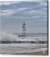 Hdr Light Tower Waves Splashing Beach Beaches Sea Oceanview Photos Pictures Photograph Photo Picture Acrylic Print