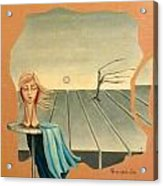 Head In Wind Surrealistic Frame Boards Tree And Hair Waving In Wind Beige Blue Grey Acrylic Print