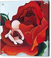 Healing Painting Baby Sitting In A Rose Acrylic Print