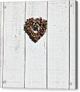 Heart Wreath On Wood Wall Acrylic Print by Garry Gay