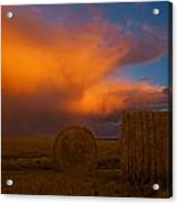Heavy Clouds And Hay Bales Acrylic Print