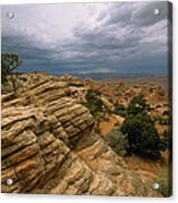 Heavy Clouds Over A Rocky Desert Acrylic Print