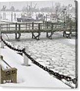 Heavy Snow Falls At Sandwich Marina In Sandwich On Cape Cod Acrylic Print