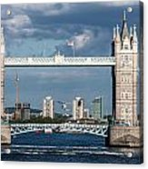 Helicopters And Tower Bridge Acrylic Print