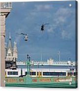 Helicopters Tower Bridge Acrylic Print