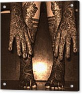 Henna Art On An Indian Bride Acrylic Print