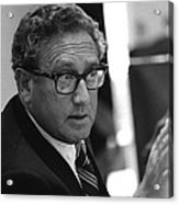 Henry Kissinger In A Meeting Following Acrylic Print