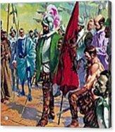 Hernando Cortes Arriving In Mexico In 1519 Acrylic Print